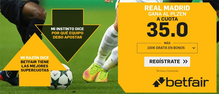 Betfair Supercuota Real Madrid vs Plzen